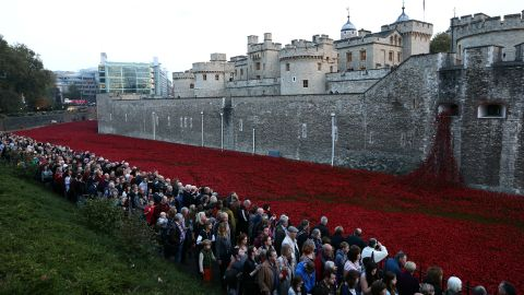 """More than four million people -- 60,000 to 70,000 a day -- are expected to visit the <a href=""""http://poppies.hrp.org.uk/"""" target=""""_blank"""" target=""""_blank"""">Blood Swept Lands and Seas of Red</a> installation at the Tower of London."""