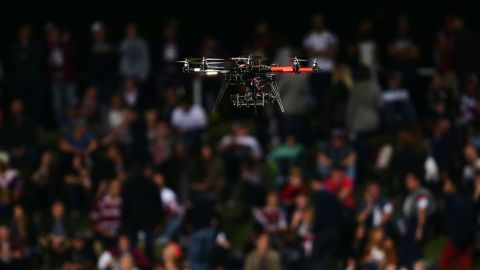 A year later, this drone is seen hovering above the field during a National Rugby League game between Australian sides Manly Warringah Sea Eagles and the Sydney Roosters.