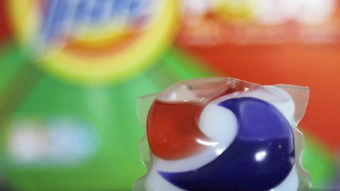 Laundry detergent makers introduced miniature packets in recent months such as this one photographed Thursday, May 24, 2012, in Houston. But doctors across the country say children are confusing the tiny, brightly colored packets with candy and swallowing them. Nearly 250 cases have been reported to poison control centers. (AP Photo/Pat Sullivan)