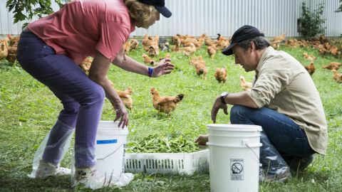 Ariane Daguin teaches Rowe about the feeding process they use on the farm.