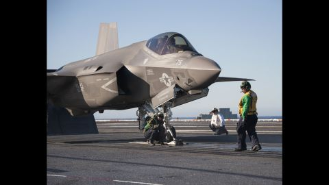 An F-35C is prepared for launch from the USS Nimitz.