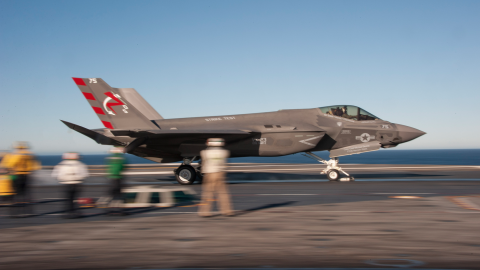 An F-35C is launched from a catapult aboard the USS Nimitz.