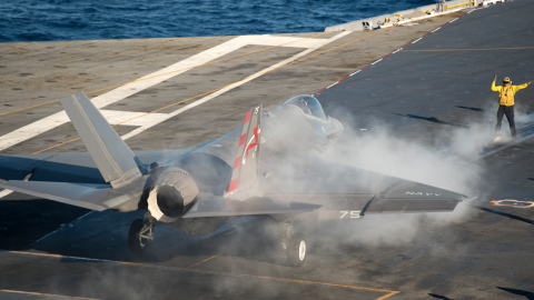 An F-35C is prepared for launch from the USS Nimitz during testing that began November 3. Testing of the Navy's newest fighter jet is expected to continue for a few weeks.