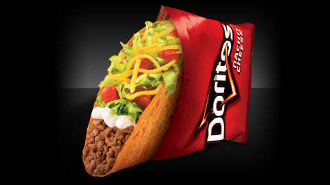 """Frito-Lay and Taco Bell hit pay dirt with Doritos Locos Tacos, which contain classic Taco Bell fillings inside a Doritos-flavored shell. The product is considered one of the most <a href=""""http://www.theatlantic.com/magazine/archive/2014/07/doritos-locos-tacos/372276/"""" target=""""_blank"""" target=""""_blank"""">successful in fast-food history</a>, generating billions of dollars in sales and high marks from fans."""