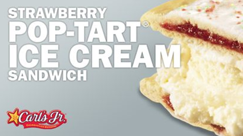 """Pop-Tarts have long been the go-to food for college students, many of whom eat them straight out of the package. (They're also, as Dave Barry once observed, <a href=""""http://www.davebarry.com/misccol/poptarts.htm"""" target=""""_blank"""" target=""""_blank"""">a great fire starter</a>.) Add a scoop of vanilla ice cream to the famed treat, as Carl's Jr. has done, and you get the Strawberry Pop-Tart Ice Cream Sandwich, an ice cream sandwich that's like an instant frozen cobbler. Enjoy -- but please don't put it in the toaster."""