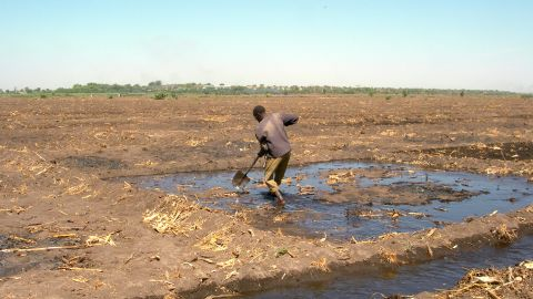 A farmer on Lake Chad, which has shrunk from 25,000km2 to 8,000km2 today.