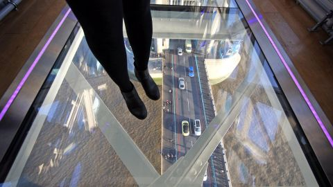 Engineers had to consider the upward view for pedestrians below. Distance, angle and reflection during the day and deliberate lighting at night ensure there are no surprise views up skirts and dresses above.