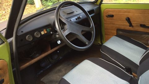 """Pictured is the Trabant interior. """"Slipping behind the wheel of a Trabant is sort of like squeezing into a sleeping bag -- especially when you're 6 feet 5 inches tall, like me,"""" says Pleitgen."""