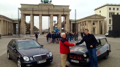CNN's Jim Clancy (left) and CNN's Fred Pleitgen compare the experiences of driving a Mercedes car and a Trabant.