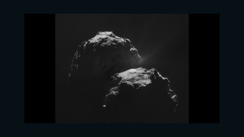 This mosaic is made of four individual images taken about 20 miles (31.8 kilometers ) from the center of the comet on November 4, 2014.