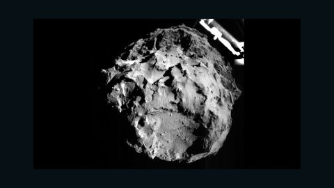 The image of Comet 67P/Churyumov-Gerasimenko was taken by a camera on the Philae lander during its descent to the comet on November 12, 2014. The lander was about 1.9 miles (3 kilometers) from the surface at the time. Philae touched down on the comet about seven hours later.
