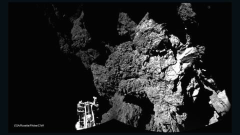 The Rosetta spacecraft's Philae lander is shown sitting on Comet 67P/Churyumov-Gerasimenko after becoming the first space probe to land on a comet on November 12, 2014. The probe's harpoons failed to fire, and Philae bounced a few times. The lander was able to send back images and data for 57 hours before losing power.