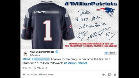 To help celebrate reaching 1 million Twitter followers, the NFL's New England Patriots encouraged fans to retweet a post in exchange for a personalized digital Patriots jersey. This promotional move led to the Patriots accidentally sending out a tweet that contained a racial slur.