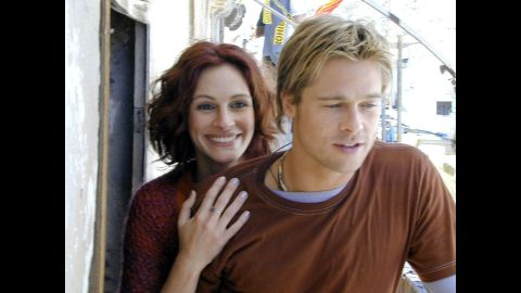 """In 2000, Brad Pitt appeared with Julia Roberts in """"The Mexican"""" and made one of two appearances on the sexy list."""