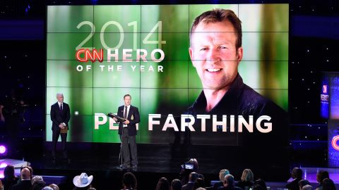 """Pen Farthing, whose nonprofit <a href=""""http://www.cnn.com/2014/11/18/world/gallery/2014-cnn-hero-of-the-year-pen-farthing/index.html"""">reunites soldiers with the stray dogs</a> they befriended in Afghanistan, was announced as the CNN Hero of the Year. The Hero of the Year, chosen by CNN's audience in an online vote, receives $100,000 to go with the $25,000 each Hero receives for making the top 10."""