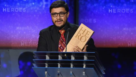 """CNN Hero Juan Pablo Romero Fuentes gives his speech. His nonprofit Los Patojos, which translates to the Little Ones, <a href=""""http://www.cnn.com/2014/11/21/world/gallery/cnn-heroes-juan-pablo-romero-fuentes/index.html"""">has helped more than 1,000 children</a> in Guatemala. The program offers free classes, tutoring and meals, as well as low-cost medical care."""
