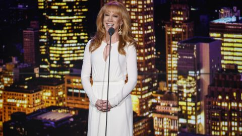 Comedian Kathy Griffin speaks on stage during the show.
