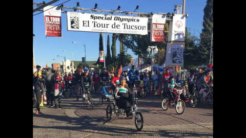 """Giffords completed an <a href=""""http://www.cnn.com/2014/11/23/us/giffords-11-mile-bike-ride/index.html"""" target=""""_blank"""">11-mile cycling event</a> on November 22, marking another milestone in her recovery from a 2011 mass shooting, <a href=""""https://twitter.com/GabbyGiffords/status/536217312429617153/photo/1"""" target=""""_blank"""" target=""""_blank"""">tweeting</a> """"Kicking off 11 miles in El Tour de Tucson. Beautiful day for a bike ride!"""""""
