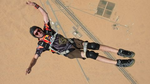 """At age 18, a botched jump left skydiver Jarrett Martin paralyzed from the chest down. That would be enough to sideline most people, but not him. Now 24, <a href=""""http://www.cnn.com/2014/11/24/travel/dubai-disabled-skydiver/"""">Martin competes in frequent skydiving events</a> in Dubai and elsewhere. Earlier this year he completed 11 BASE jumps (from a fixed structure or cliff) in Norway, becoming the first disabled person to successfully make such a leap unassisted."""