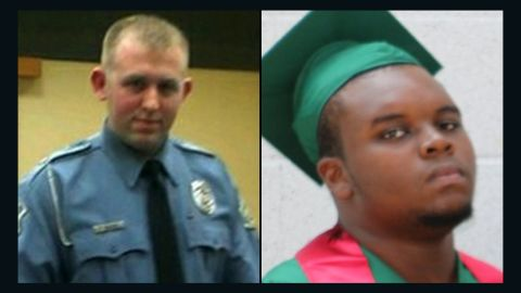 Officer Darren Wilson, left, and Michael Brown