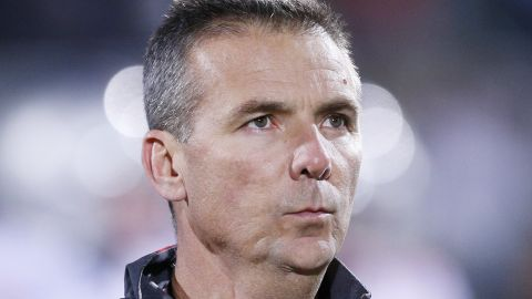 Head coach Urban Meyer of the Ohio State Buckeyes looks on in the first half of the game against the Michigan State Spartans at Spartan Stadium on November 8, 2014 in East Lansing, Michigan. (Photo by Joe Robbins/Getty Images)