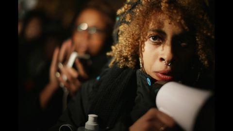 Hundreds of demonstrators gather to protest on November 25 in Washington.