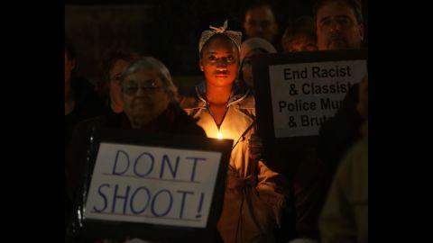Protesters gather in Eugene, Oregon, on November 25.