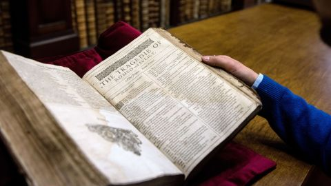 Shakespeare-related artifacts are tremendously rare and valuable. Here, Remy Cordonnier, librarian in the French town of Saint-Omer, displays a valuable Shakespeare First Folio, a collection of some of his plays dating from 1623. About 230 copies of the First Folio are known to exist in collections or in private hands around the world.