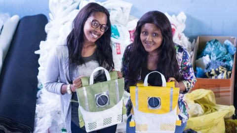 """<a href=""""http://edition.cnn.com/2014/12/04/world/africa/repurpose-schoolbags-south-africa-rethaka/index.html"""" target=""""_blank"""">Repurpose schoolbags</a> is a green initiative from budding entrepreneurs and best friends Thato Kgatlhanye and Rea Ngwane. Their 100% recycled plastic backpacks double as a nightlight for schoolkids. It features a solar panel that charges during the walk to school and also has reflective material making the children more recognizable against oncoming traffic."""