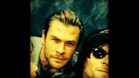 """Actor Norman Reedus, right, <a href=""""http://instagram.com/p/lankLAMcDa/"""" target=""""_blank"""" target=""""_blank"""">posted a selfie</a> with actor Chris Hemsworth on Tuesday, March 11."""