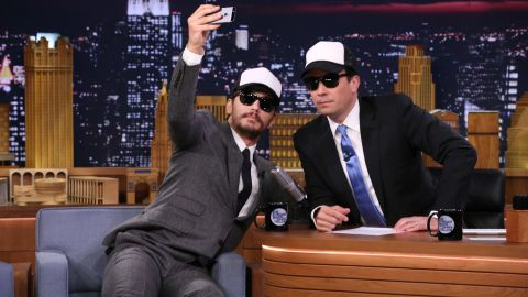 """Actor James Franco snaps a selfie with host Jimmy Fallon on a """"Tonight Show"""" episode Monday, July 28."""