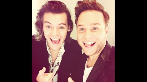 """Singer Olly Murs, right, <a href=""""http://instagram.com/p/vbKn5Inyat/?modal=true"""" target=""""_blank"""" target=""""_blank"""">takes a selfie</a> with One Direction's Harry Styles on Saturday, November 15."""