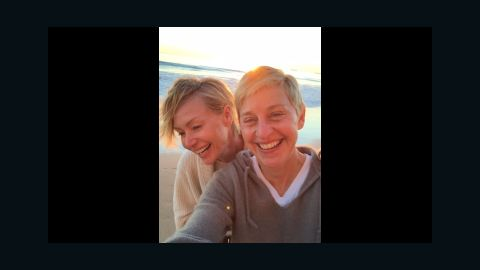 """Actress Portia de Rossi, left, <a href=""""https://twitter.com/portiaderossi/status/538805178074284032"""" target=""""_blank"""" target=""""_blank"""">tweeted this beach selfie</a> of her and her wife, talk show host Ellen DeGeneres, on Saturday, November 29. They were celebrating 10 years together as a couple."""