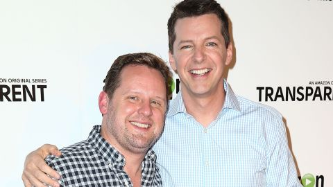 """In November 2014, """"Will and Grace"""" star Sean Hayes, right, tied the knot with music producer Scott Icenogle. """"Here's a #TBT photo of Scotty and me getting married last week,"""" <a href=""""https://www.facebook.com/235697306486594/photos/a.235717159817942.57945.235697306486594/789737024415950/?type=1"""" target=""""_blank"""" target=""""_blank"""">Hayes shared on Facebook</a>. """"Took us 8 years but we did it!"""""""