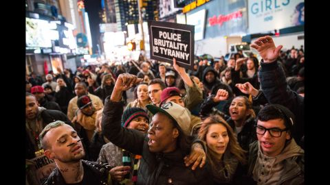 Demonstrators block the entrance to the Lincoln Tunnel in New York on Wednesday, December 3.
