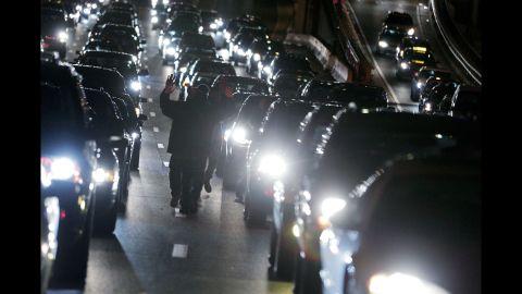 Demonstrators block traffic on Interstate 395 in Washington on December 3.