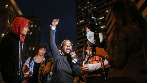 A woman speaks during a demonstration in Oakland, California, December 3.