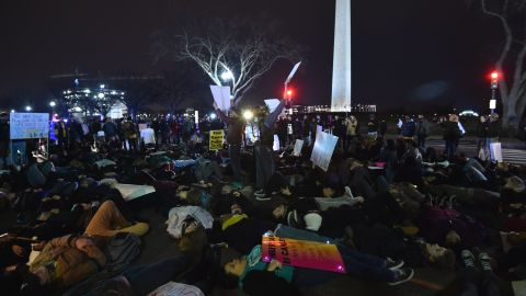 Protesters demonstrate on the streets of Washington, DC, on December 4, 2014, against the Grand Jury decision not to indict officer Daniel Pantaleo, 29, for the death of Eric Garner, 43, in New York. AFP Photo/Paul J. Richards (Photo credit should read PAUL J. RICHARDS/AFP/Getty Images)