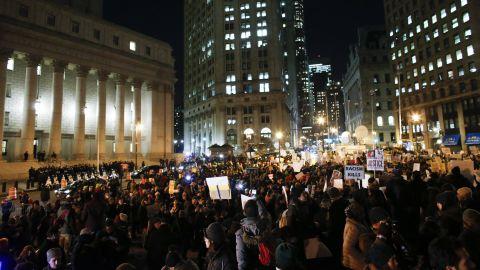 Demonstrators gather in New York's Foley Square on December 4.