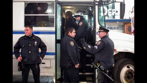 A demonstrator gets arrested during a protest in New York on December 4.