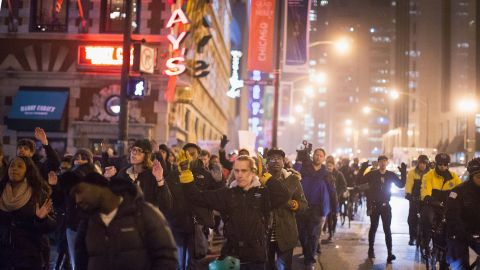 Demonstrators march through the Loop in Chicago on December 5.