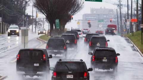 The President traveled via motorcade to Walter Reed National Military Medical Center.