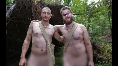 """James Franco and Seth Rogen had to survive in the wild in the altogether in an episode of Discovery's """"Naked and Afraid"""" series. Franco expressed his love for being nude while Rogen asked, """"Can you make the blur big? Like a giant blur?"""""""