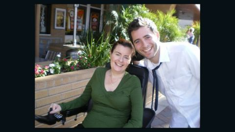 Anthony with his mom, Catherine Scott, who has lived with ALS for 13 years.