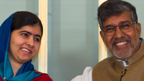 Malala Yousafzai and Kailash Satyarthi attends the Nobel Peace Prize press conference at the Norwegian Nobel Institute on December 9, 2014 in Oslo, Norway.