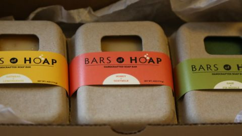 """<a href=""""http://barsofhoap.com/"""" target=""""_blank"""" target=""""_blank"""">Bars of Hoap</a> are artisan soaps made with 100% natural ingredients. All proceeds go towards helping entrepreneurial women in Haiti."""