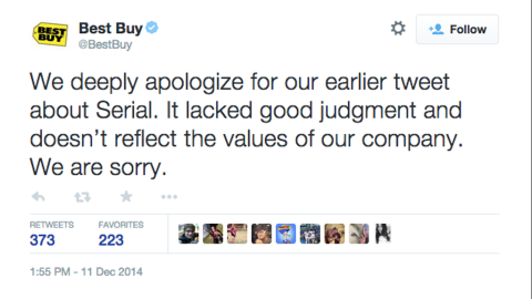 """Best Buy said sorry after tweeting a joke involving a plot point at the center of a murder case covered on the first season of the popular """"Serial"""" podcast. Whether a Maryland Best Buy location had a public pay phone outside the store was in dispute during the homicide investigation. Best Buy's quip: """"We have everything you need. Unless you need a payphone. #Serial"""""""