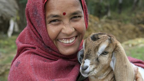 """<a href=""""http://www.heifer.org/"""" target=""""_blank"""" target=""""_blank"""">Heifer International </a>gives livestock and other animals to empower people to earn an income and feed themselves. Vishnu Pariyar, shown here tending to one of her goats in Sitapur Village in Nepal, is part of the Pancheshwori Women Empowerment Project."""