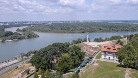 """Belgrade, or Beograd, which means """"white fortress,"""" grew up around a centuries-old fortress on the Kalemegdan headland overlooking the point where the Danube and Sava rivers meet."""