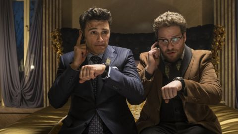 """December 16 -- The New York premiere of """"The Interview"""" was canceled after """"The Guardians of Peace"""" posted a threat against moviegoers. The message said: """"We will clearly show it to you at the very time and places 'The Interview' be shown, including the premiere, how bitter fate those who seek fun in terror should be doomed to,"""" the hacking group said. """"The world will be full of fear. Remember the 11th of September 2001."""""""